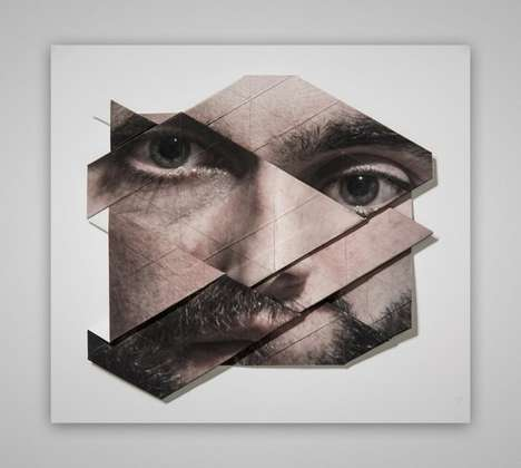 Distorted Origami Faces - Past Futur Perfekt by Aldo Tolino Reconstructs Portraits in Disruptive Way