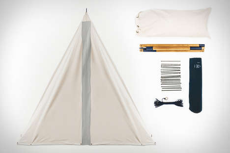 Back-to-Basics Camping Shelters - The Scout Single Pole Tent is a Chic Canvas Teepee