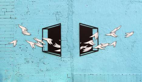 3D Illusion Bird Murals - This Aakash Nihalani