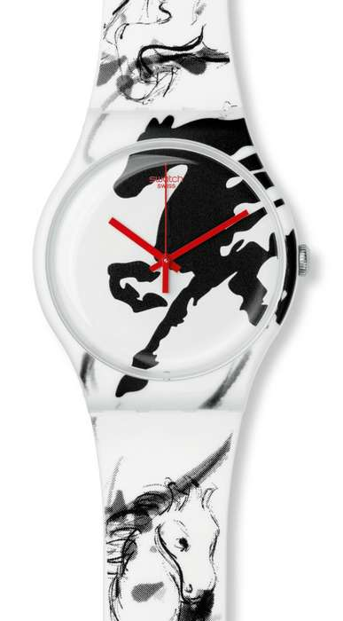 Monochrome Horse-Adorned Watches - This Swatch Limited Edition Year of the Horse Watch is Stunning