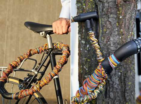 Twine-Infused Bike Locks - This Reflective Bike Lock Series is Made from Hemp Twine