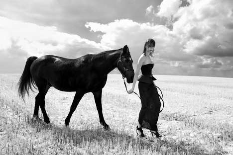 Edgy Equestrian Editorials - The Photoshoot Starring Oktawia by Kurt Salhofer is Shot in Grayscale