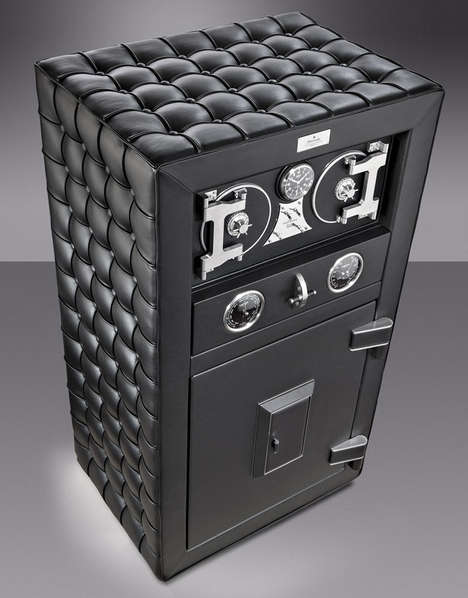 Leather-Upholstered Strongboxes - The Fortress Safe Keeps Your Valuables Vaulted in Sumptuous Style