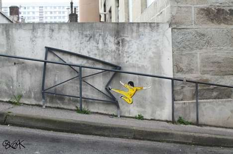 City-Destroying Graffiti - The Bruce Lee Street Art by OakOak is Demolishing a City in France