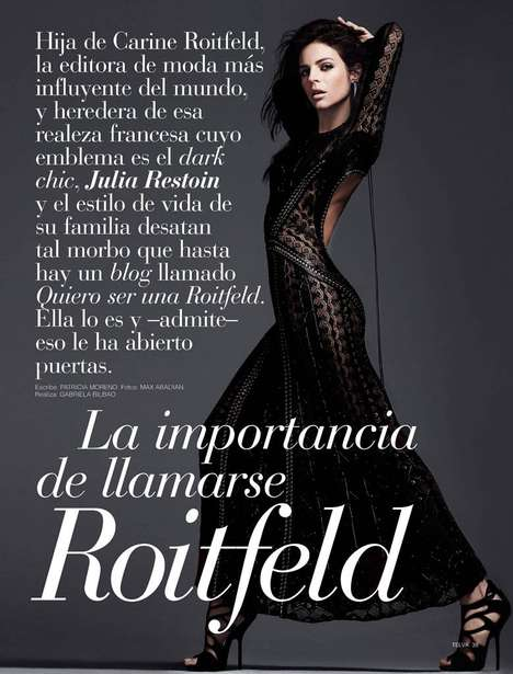 Racy All-Black Fashion - The Telva Magazine April 2014 Editorial Stars Julia Restoin Roitfeld