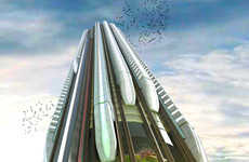 Sky-Piercing Skyscraper Trains - British Designers Introduce the Hyper-Speed Vertical Train