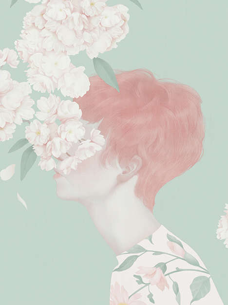 Whimsically Pale Illustrations - The Portraits of Hsiao-Ron Cheng are Femininely Enchanting