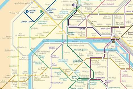 Feminized French Metro Maps - Métroféminin is a Redesigned Paris Metro Map That Honors Iconic Women