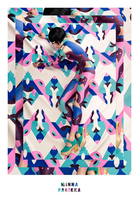 Geometrically Camouflaged Shoe Ads - Models Were Body Painted for Minna Parikka Spring/Summer 2014
