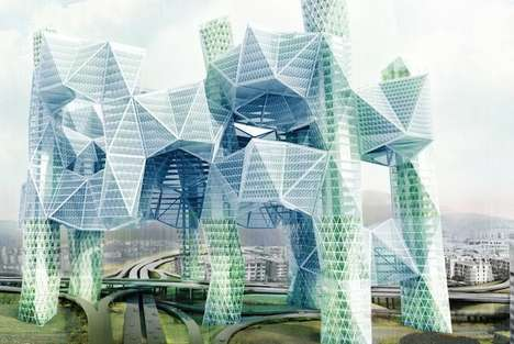 Pollution-Sucking Architecture - The Sky Village by Ziwei Song Cleans Air Above Highways