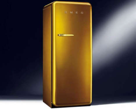 Glitzy Gold Kitchen Appliances - The Gold Retro Fridge is Adorned with Shimmering Swarovski Crystals