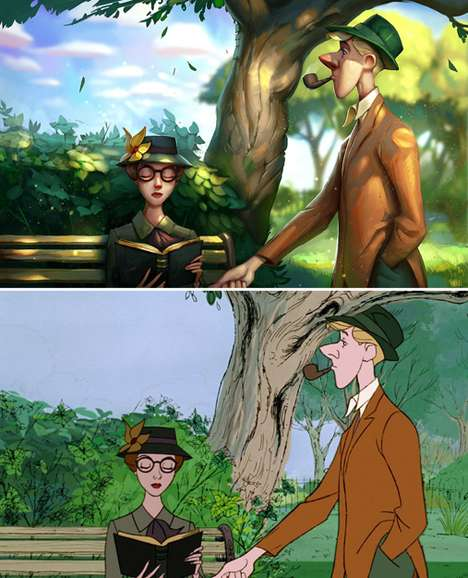 Digitally Revamped Cartoon Scenes - Tyson Murphy Used Digital Paint for Recreated Disney Scenes