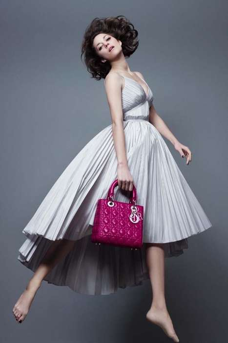 Barefoot Jumping Editorials - Marion Cotillard Uses a Trampoline for the Lady Dior Light as Air Ads
