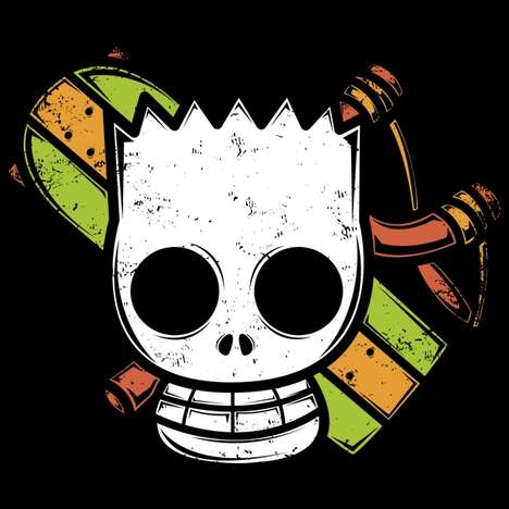Skeletal Pop Culture Apparel - David Bear Designs Characterized Pirate Skulls for Tees and Hoodies