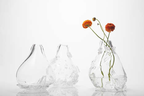 Shard-Shedding Stem Holders - The 2x Glass Vases Take Smooth Shapes with Sharp External Textures