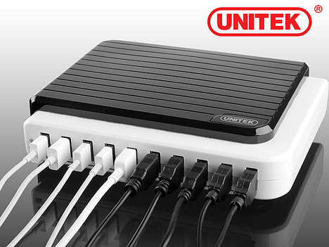 Multi-Device Charge Stations - The Multi-Port USB Hub Allows for Ten Devices to be Plugged in