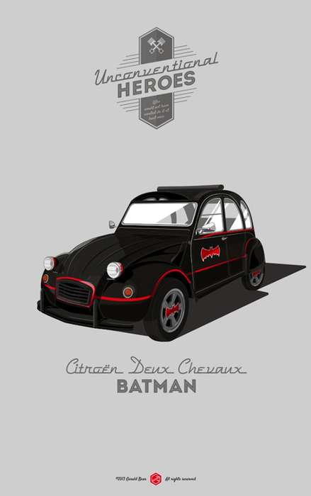 Realistic Superhero Car Illustrations - Gerald Bear Illustrated Superhero Cars to Be More Realistic
