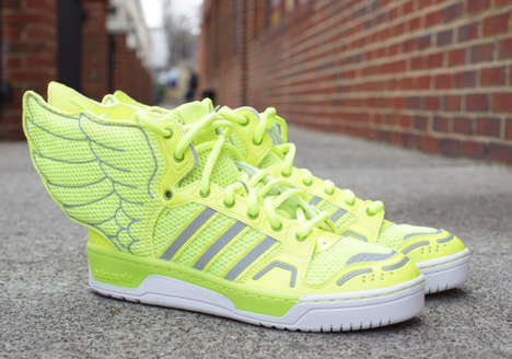 Neon Winged Sneakers - The JS Wings 2.0 Get Decked Out with Neon Yellow Mesh and Reflective Stripes