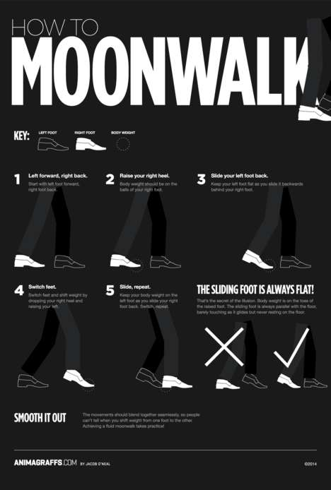 Iconic Dance Move Infographics - This Animated Dance Move Infographic Will Teach You to Moonwalk