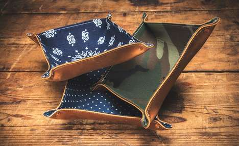 Denim Leather Organizers - These Organizers are Made of Red Wing Leather and Printed Canvas