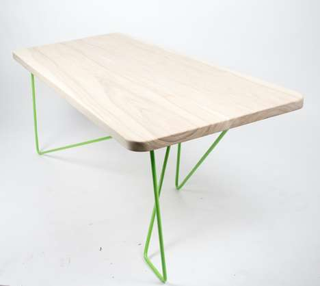 Dynamic Metal Furniture Bases - The Dinamo Table by Juan Sebastian Jacobo Cortes Boasts Tension