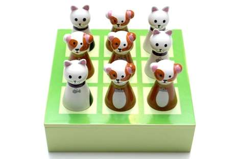 3D Puzzle Pet Boards - This Wooden Tic Tac Toe Replaces Xs and Os with Cute Characters