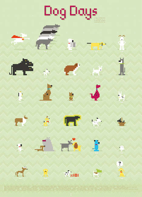 Colorful Canine Pixel Posters - This Poster Imortilizes Pop Culture Puppies