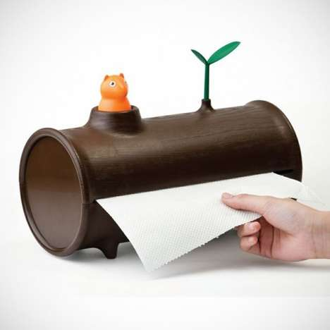 Eco-Conscious Towel Dispensers - The Log 'N Roll Paper Towel Holder Reminds You to Use Less Paper