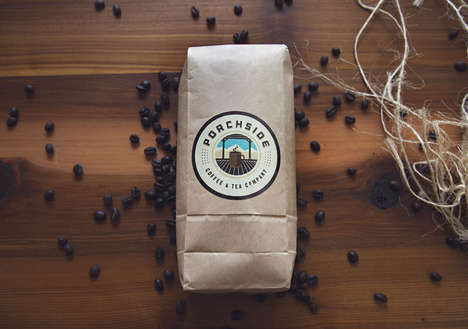Charming Traditional Java Cafes - The Porchside Coffee & Tea Company Coffee Branding is Warm