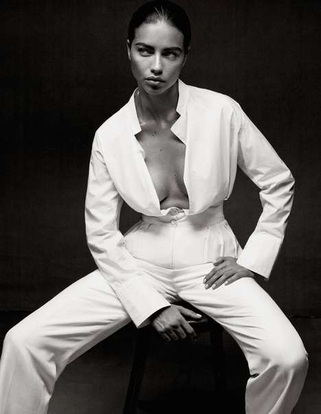 Gritty All-White Editorials - The Interview Germany April 2014 Cover Shoot Stars Adriana Lima