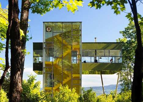 Forest-Reflecting Glass Homes - This Modern Tower House Refelcts the Forest and Surrounding Area