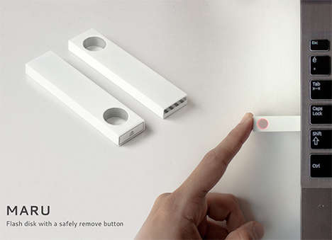 Efficient-Eject Thumbdrives - The Maru Flash Drive Makes its Safe Ejection Quick and Intuitive