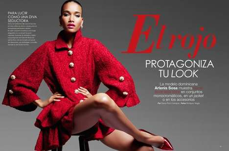 Feminine Red-Accented Fashion - The Vanidades Magazine April 2014 Cover Shoot Stars Arlenis Sosa