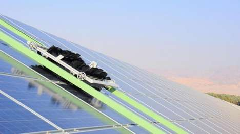 Robotic Solar Plant Janitors - These Energy-Independent Robots Keep an Israeli Solar Plant Dust-Free