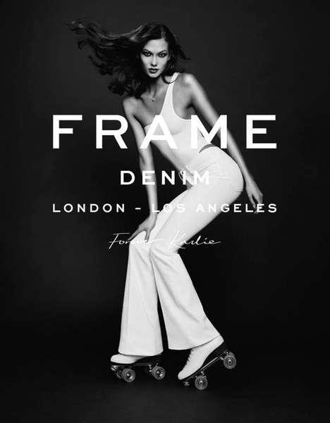 Roller Skating Model Ads - Karlie Kloss Poses for Frame Denim Spring 2014