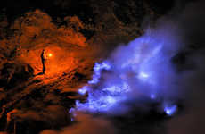 The Kawah Ijen Volcano Flows and Burns with Blue Fire