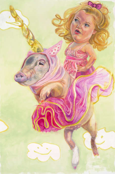 Grotesque Toddler Paintings - Ingrid V. Wells is Inspired by Honey Boo Boo and Child Beauty Pageants