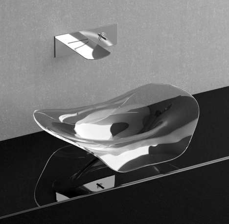 Fluid Transparent Basins - The Volta Sink by GlassDesign is Sleek and Minimalist