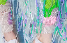 Textured Seapunk Fashion - This Miista Catalog Boasts Iridescent and Highlighter Hued Looks