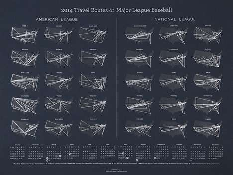 Traveling Team Calendars - This MLB Calendar by Thirty81 Shows the Travelling Route of All Teams