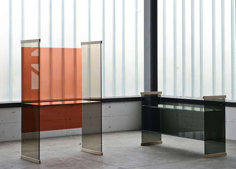 Tinted Glass Furniture Collections - The New Diapositive Collection Uses Colored Glass Panels
