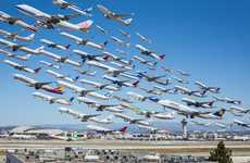 Wake Turbulence Pictures the LAX Departures Over the Course of One Day