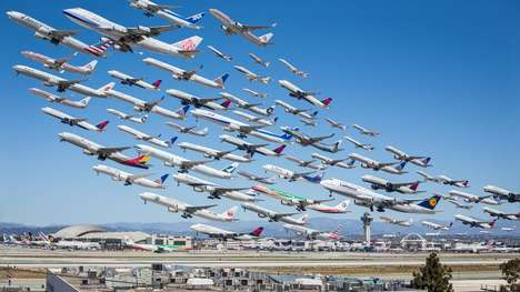 Exodus Airplane Photography - Wake Turbulence Pictures the LAX Departures Over the Course of One Day