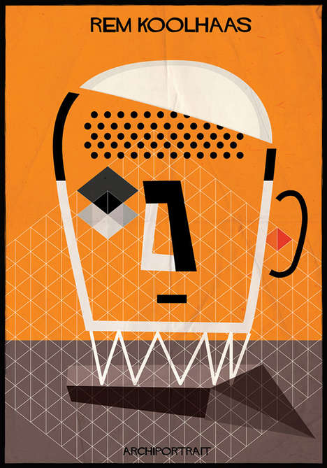 Architect Style Artwork - Federico Babina Illustrates Architect Portraits in Their Distinct Styles
