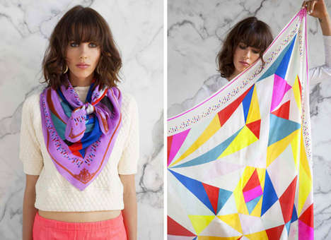 Glowing Graphic Scarf Collections - The Peace Treaty Spring 2014 Collection is Bright and Feminine