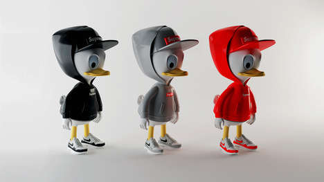 Duck Modeled Streetwear Staples - Simeon Georgiev Uses Duck Triplets to Model Illustrated Staples