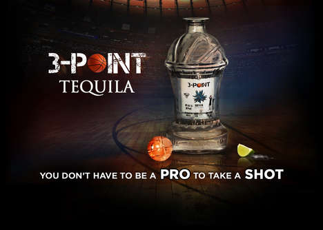 Basketball Booze Branding - The 3-Point Tequila Packages its Tequila in a Basketball-Themed Bottle