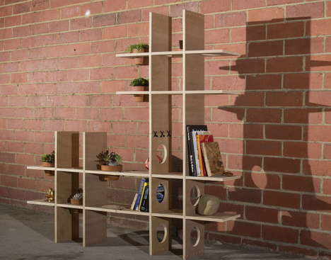Stitched Minimalist Shelving - The Cross-It is Easy to Assemble and Modern-Looking