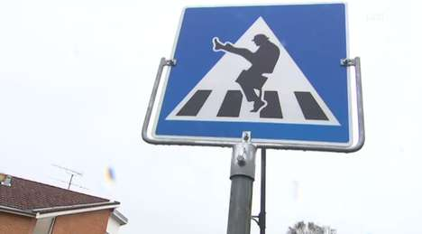 Silly Walking Sign Pranks - This Norwegian Traffic Sign Made People Do the Monty Python Silly Walk
