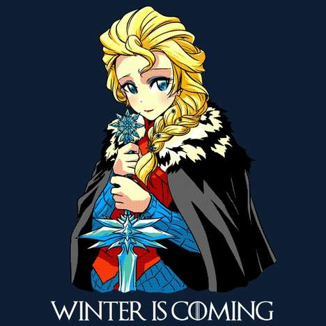 Hybrid Pop Culture Apparel - The Frozen Winter is Coming Tee is an Awesomely Combined Concept